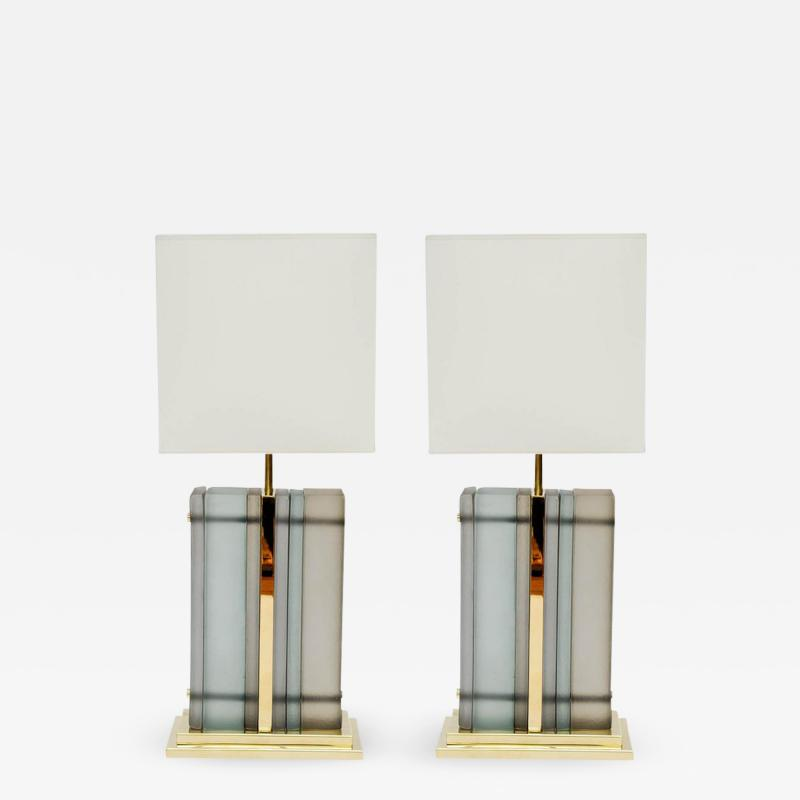 Pair of Brass and Sheets of Murano Glass Table Lamps