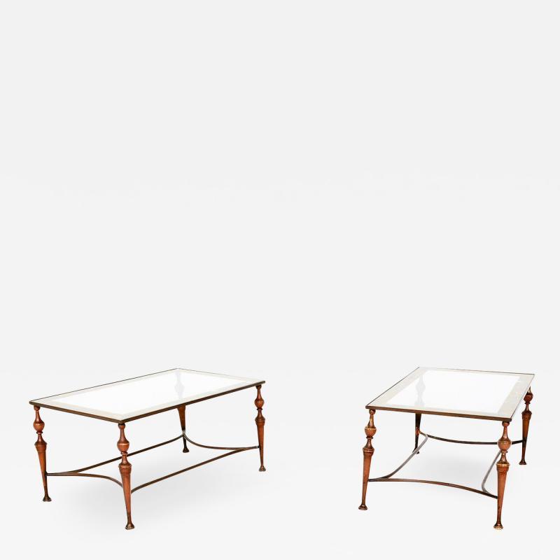 Pair of Bronze Arturo Pani Side Tables Mid Century Modern Hollywood Glam