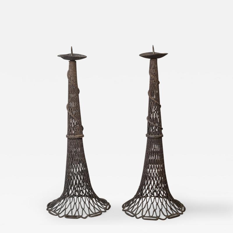 Pair of Bronze Fishnet Candlesticks
