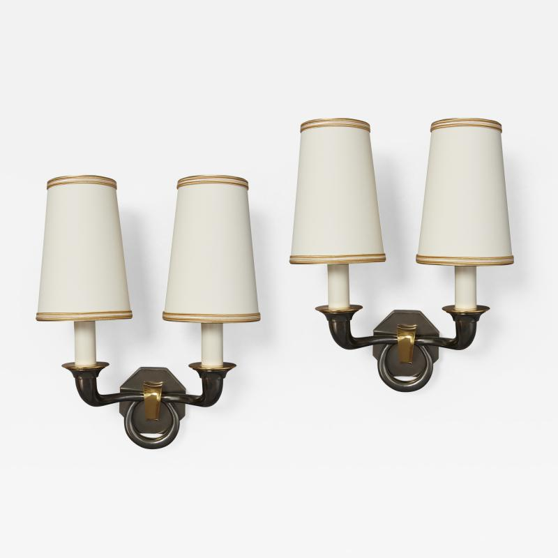 Pair of Bronze Sconces in Gunmetal Finish France 1950s