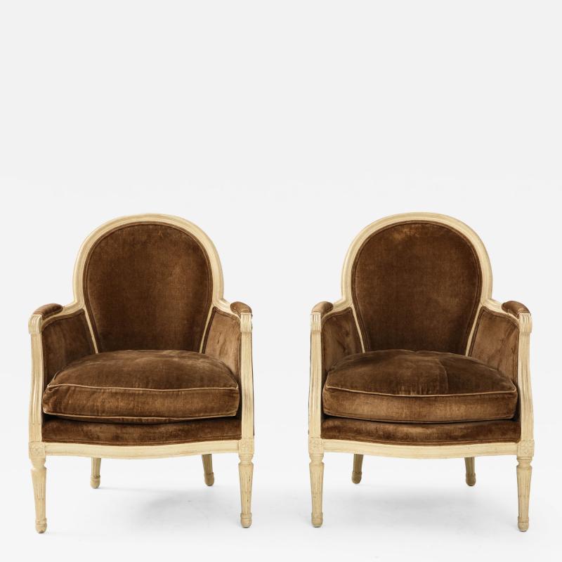 Pair of Brown Louis XVI Style Berg res