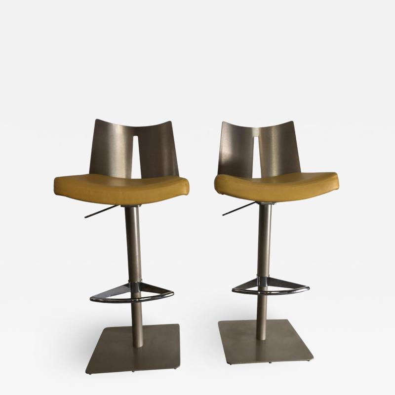 Pair of Brushed Steel Swivel and Adjustable Barstools or Countertop stools