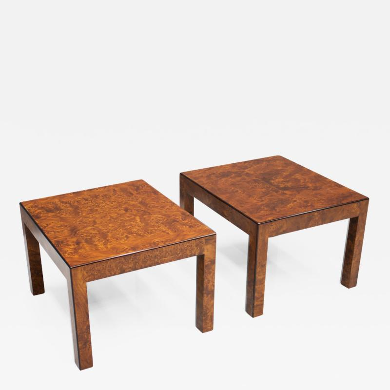 Pair of Burl Wood Side or End Tables 1970s