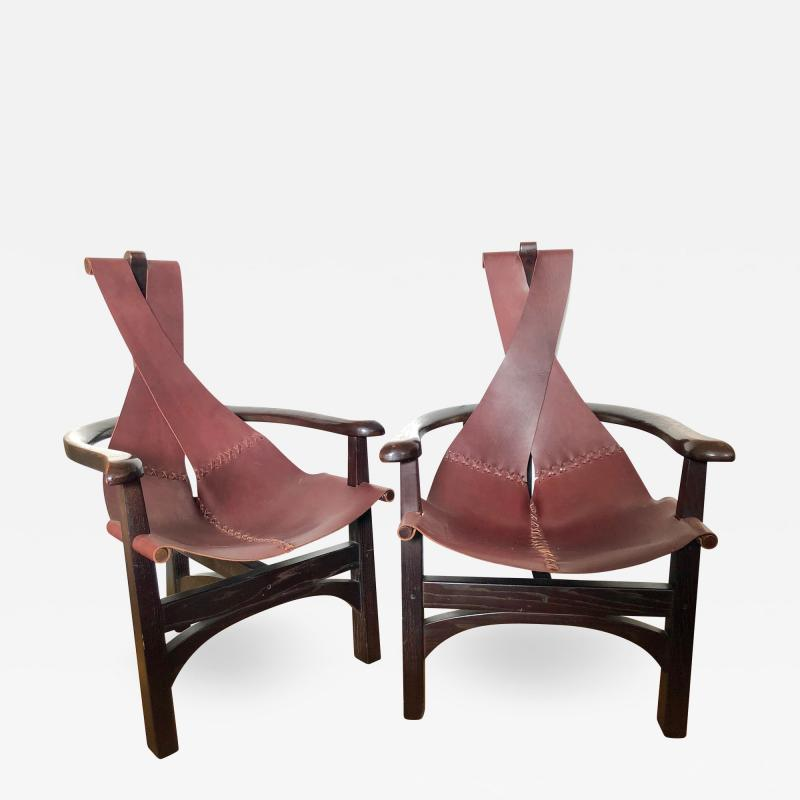 Pair of California Studio Leather Sling Chairs