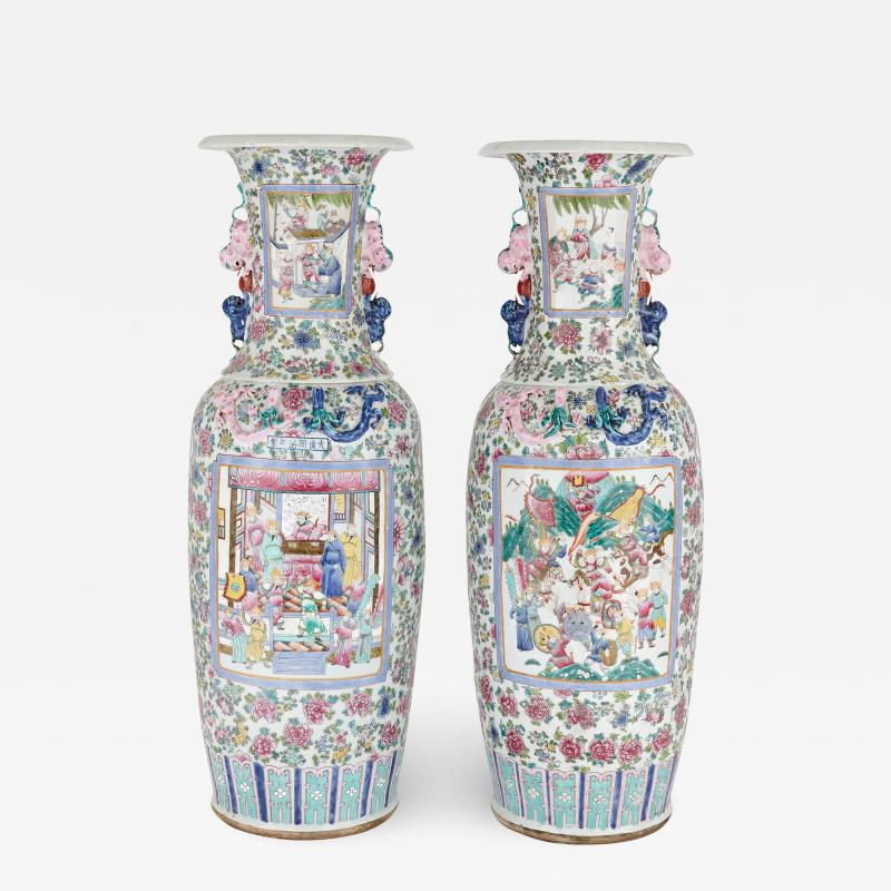 Pair of Canton style Chinese porcelain vases