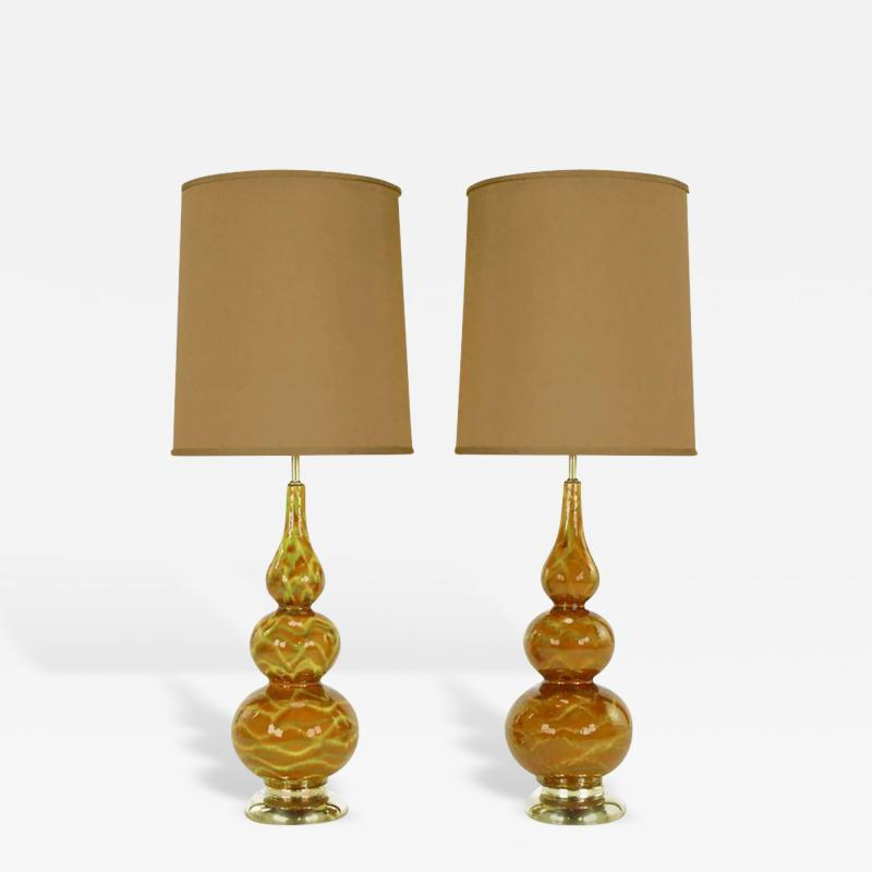 Pair of Caramel Glazed Ceramic Triple Gourd Form Table Lamps
