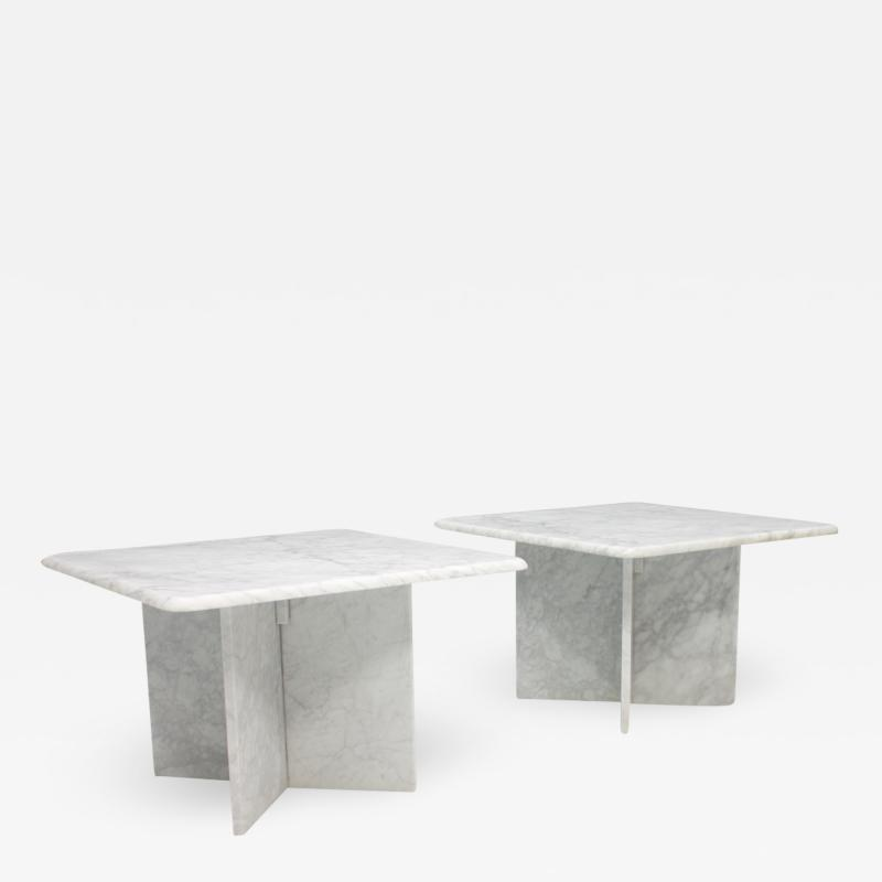 Pair of Carrara Marble Side Tables Italy 1970s