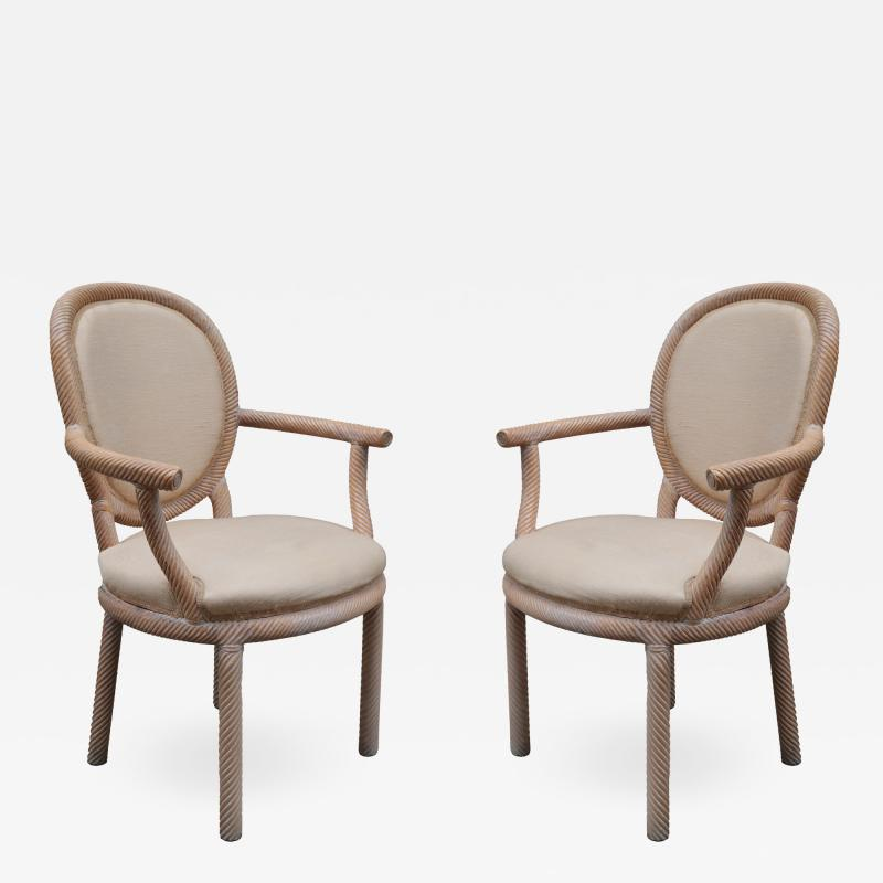 Pair of Carved Armchairs by Arpex