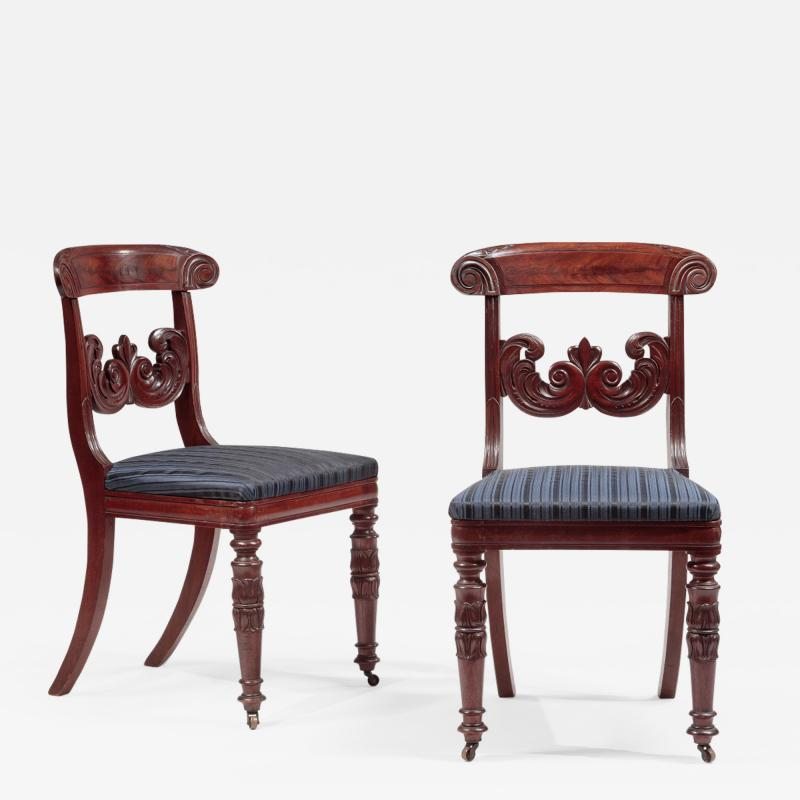 Pair of Carved Mahogany Dining Chairs