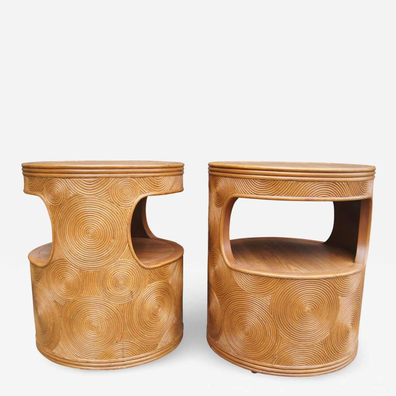 Pair of Carved Round End Tables in the Aesthetic of Gabriella Crespi