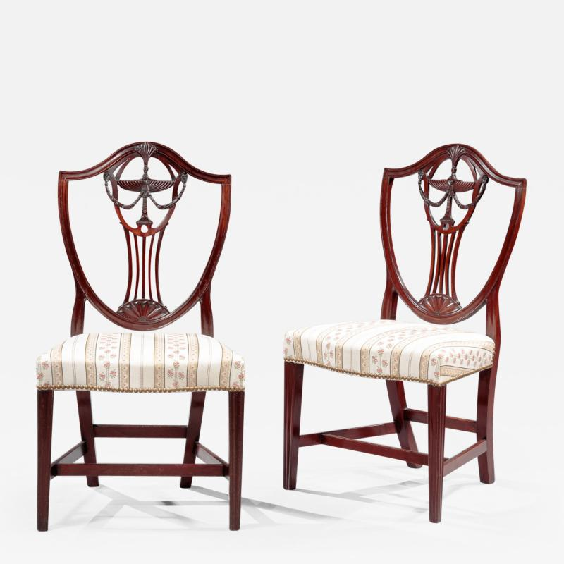 Pair of Carved Shield Back Side Chairs