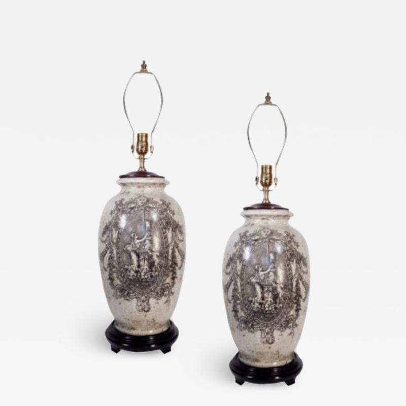 Pair of Ceramic Urn Lamps