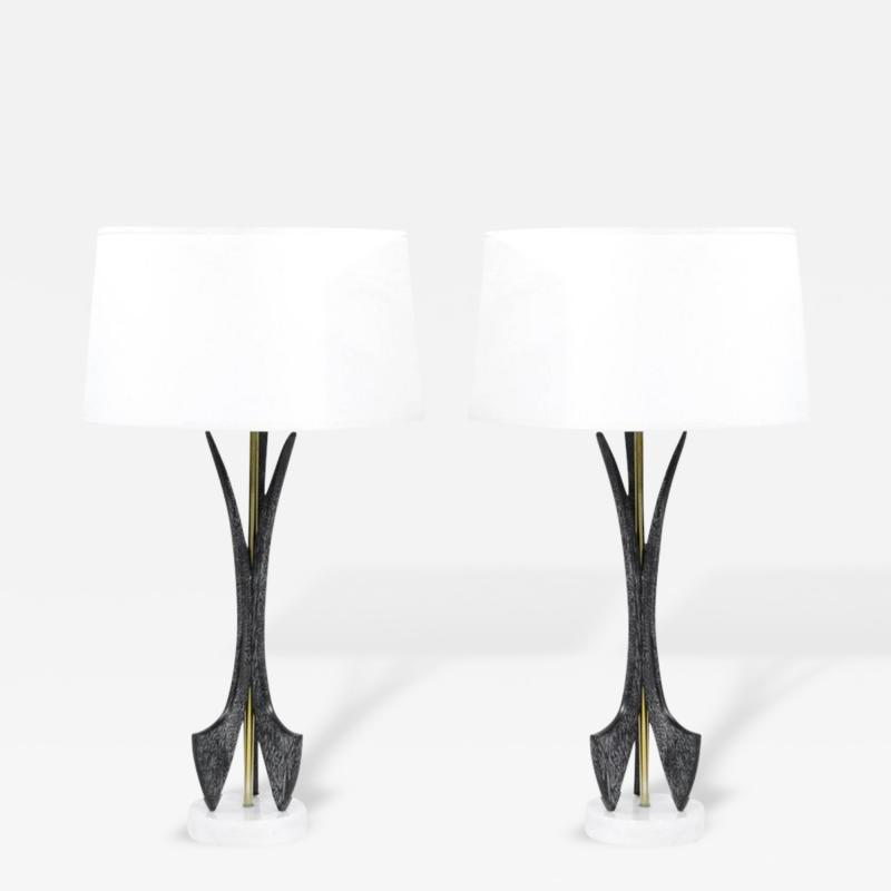 Pair of Cerused Table Lamps on Marble Bases 1950s