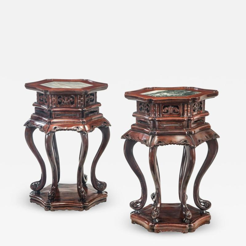 Pair of Chinese Hardwood Tables With Inset Marble Tops