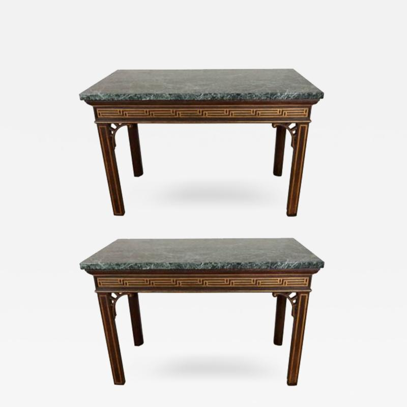 Pair of Chinoiserie Console Tables with Verde Antico Tops
