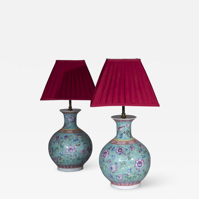 Pair of Chinoiserie Famille Rose Vase Lamps Turquoise and Pink