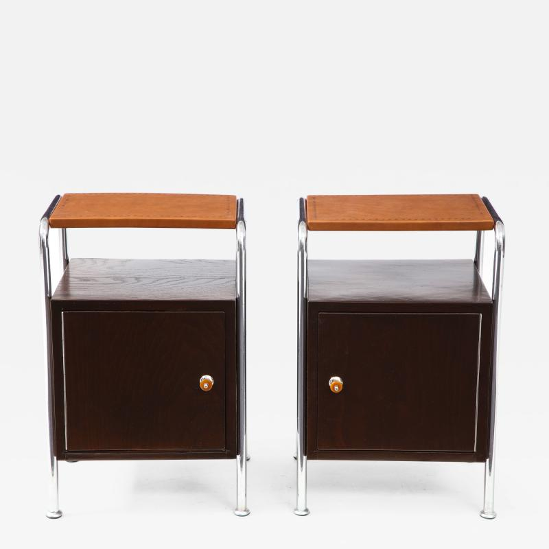 Pair of Chrome Leather Nightstands
