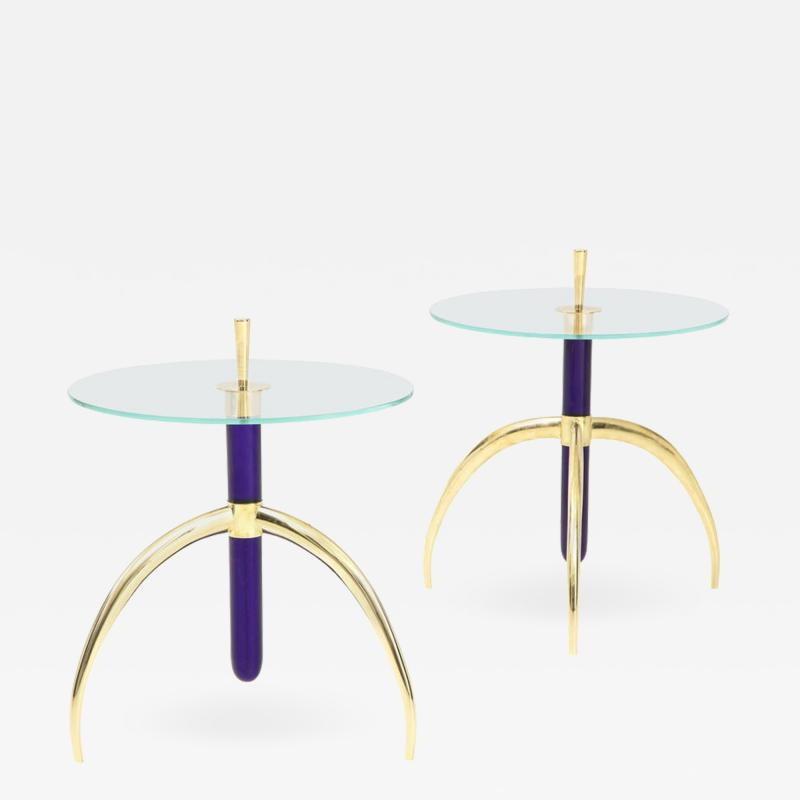 Pair of Cobalt Blue Murano Glass and Brass Circular Tripod End or Side Tables