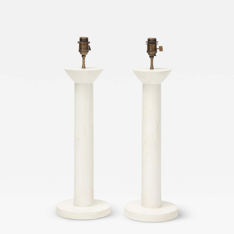 Pair of Colonne Plaster Lamps by Facto Atelier Paris France 2021