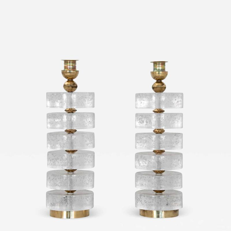 Pair of Column Seeded Glass Murano Lamps
