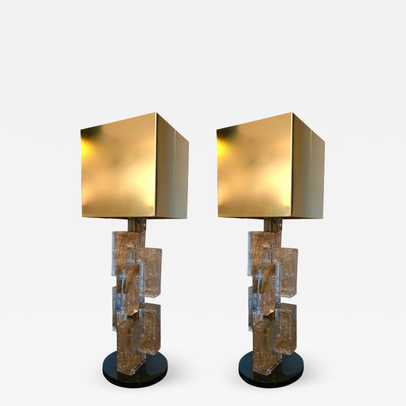 Pair of Contemporary Lamps Cubic Gold Powder Murano Glass Italy