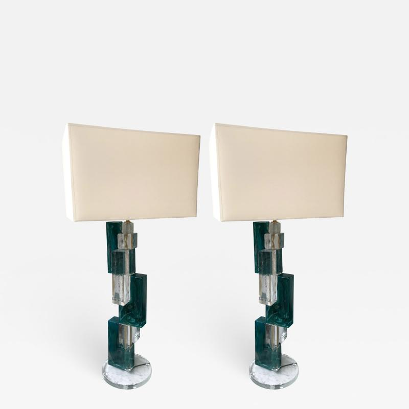 Pair of Contemporary Lamps Cubic Murano Glass and Brass