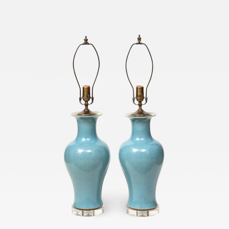 Pair of Crackle Glazed Blue Vase Lamps