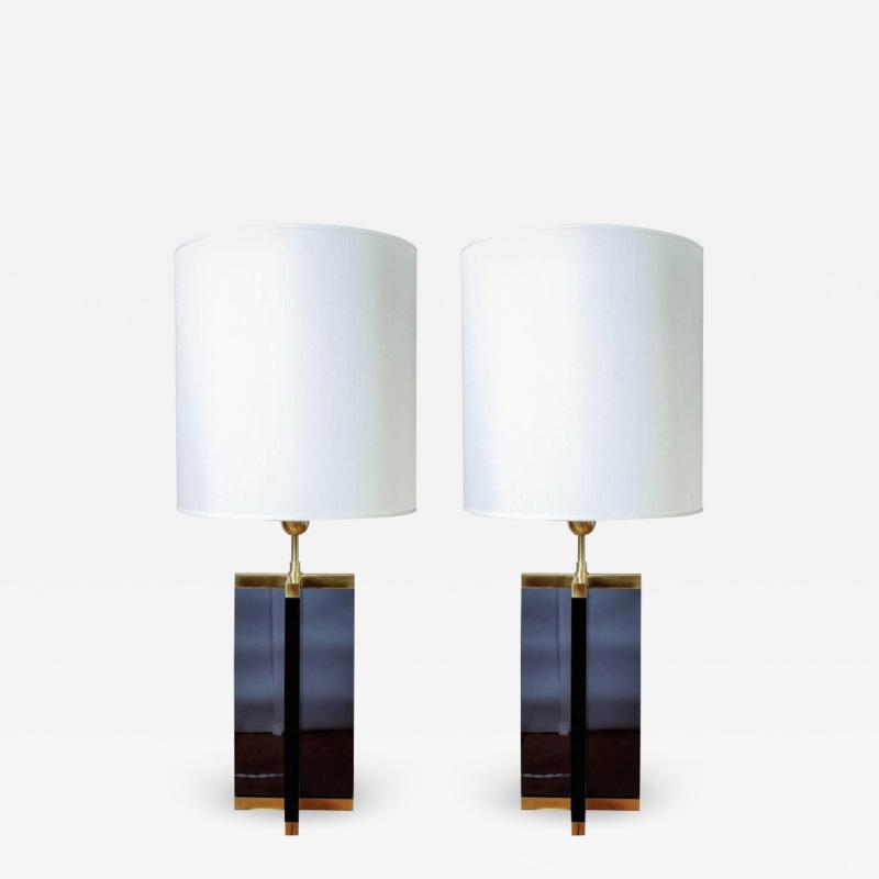 Pair of Cross Table Lamps in Dark Plexiglass and Brass