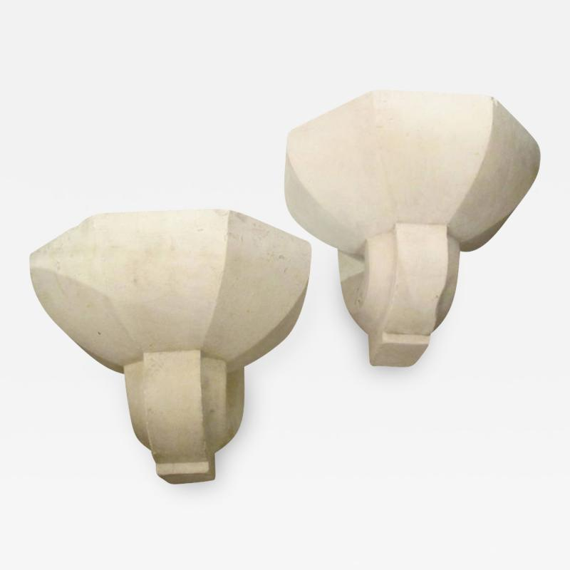 Pair of Custom Plaster Sconces in the French 1940s Manner