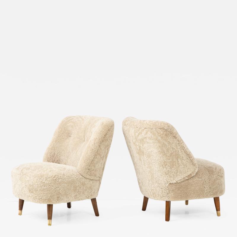 Pair of Danish Design Sheepskin Upholstered Chairs circa 1930s
