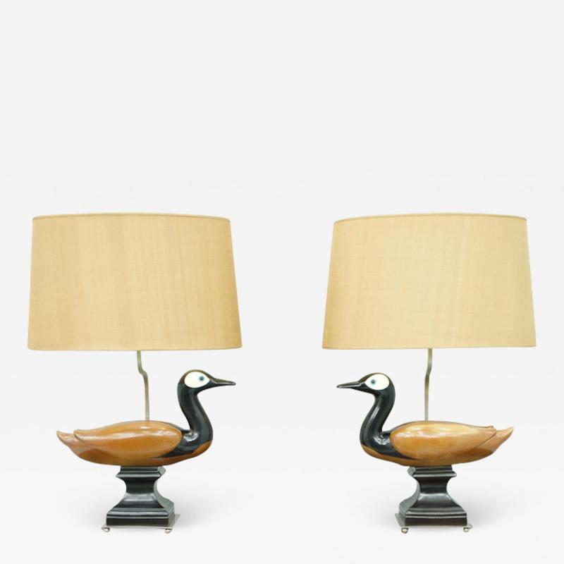 Pair of Decorative Duck Table Lamps France 1960s