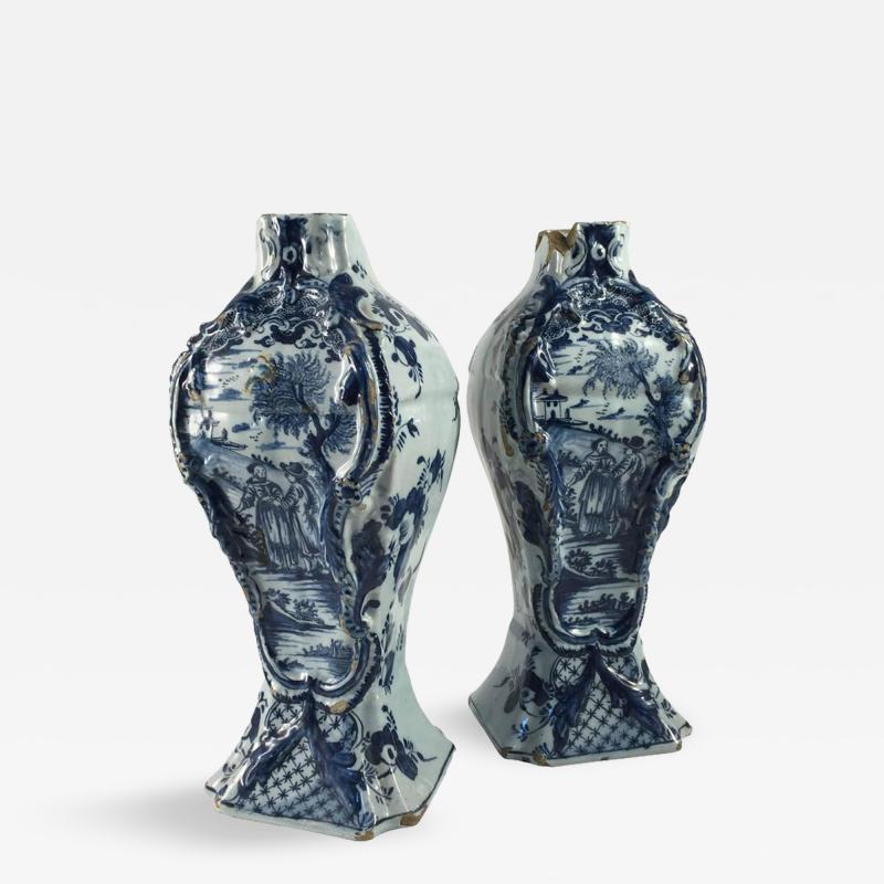 Pair of Delft Bottle Form Vases 18th Century