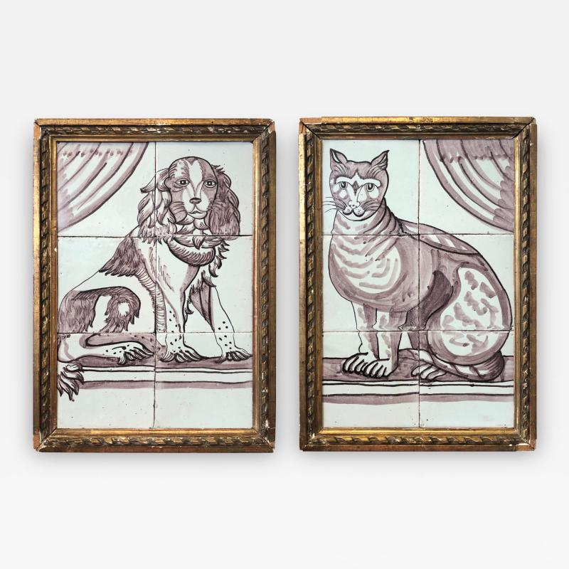 Pair of Delft Tile Pictures of Dog and Cat