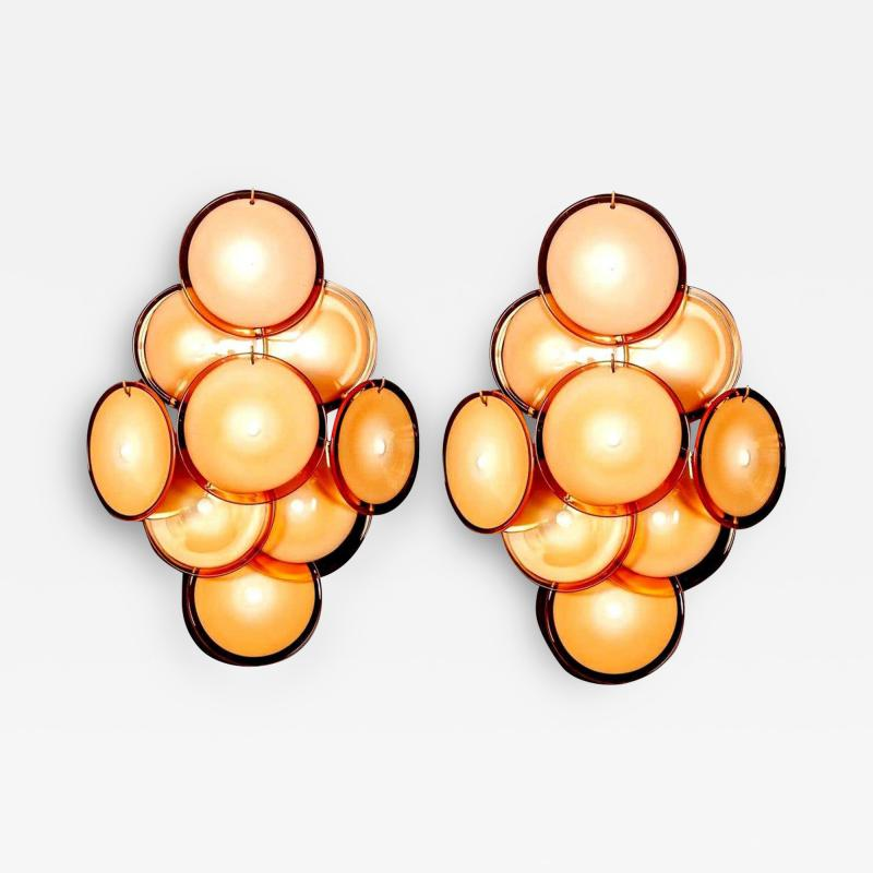 Pair of Disc Murano Glass Sconces or Wall Light 1970s