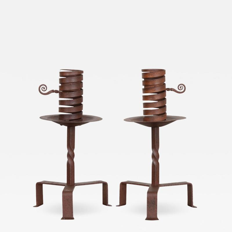 Pair of Dutch Wrought Iron Courting Candlesticks