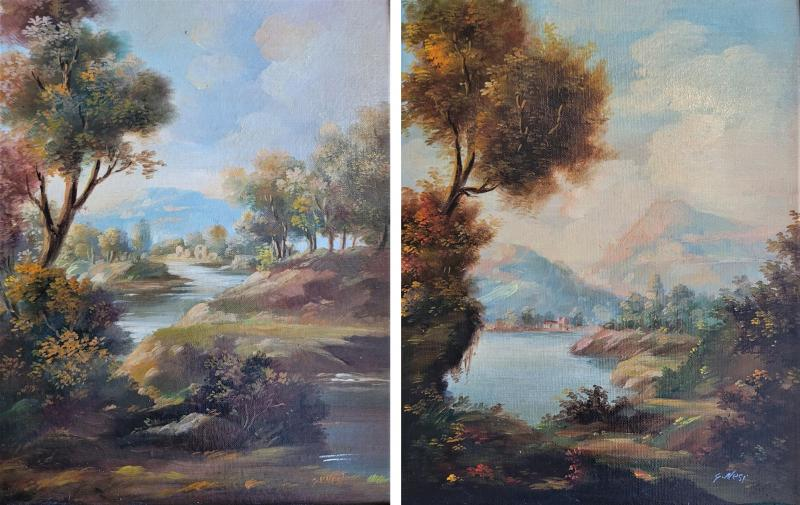 Pair of Early 20C Italian Oil on Board Landscapes by Nesi