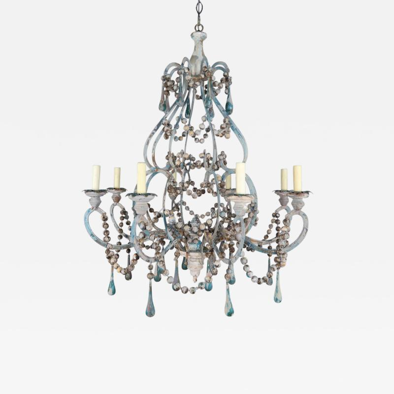 Pair of Eight Light Wood Beaded and Metal Painted Chandeliers