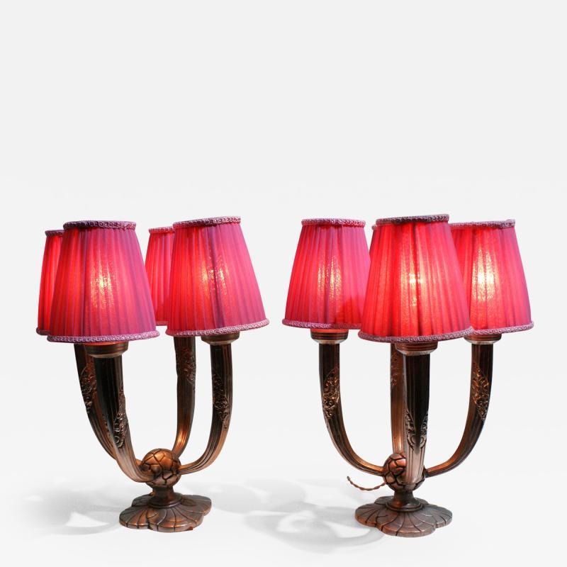 Pair of Elegant Art Deco Table Lamp Signed Limousin Maker