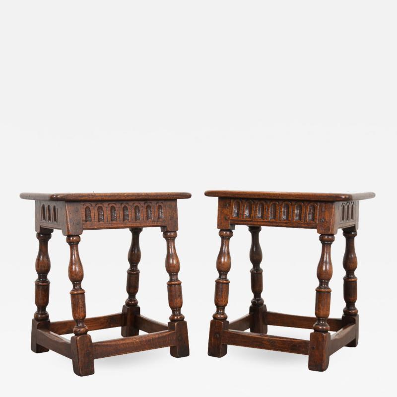 Pair of English 19th Century Oak Joint Stools