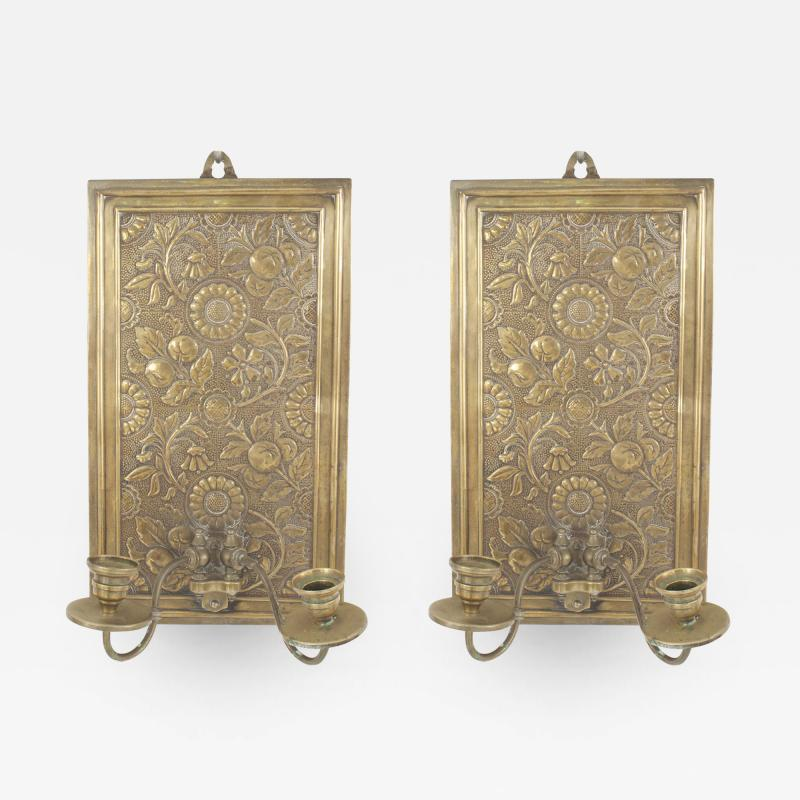 Pair of English Arts and Crafts Floral Embossed Brass Wall Sconces