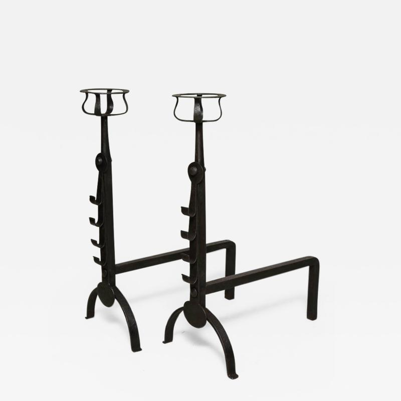 Pair of English Cotswold School Andirons