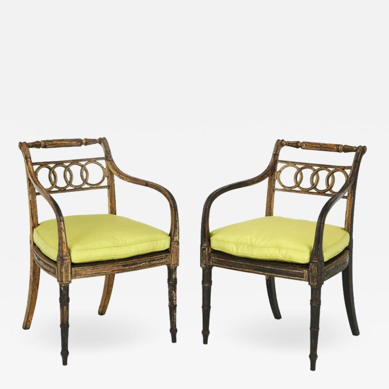 Pair of English Regency Painted and Parcel Gilt Side Chairs