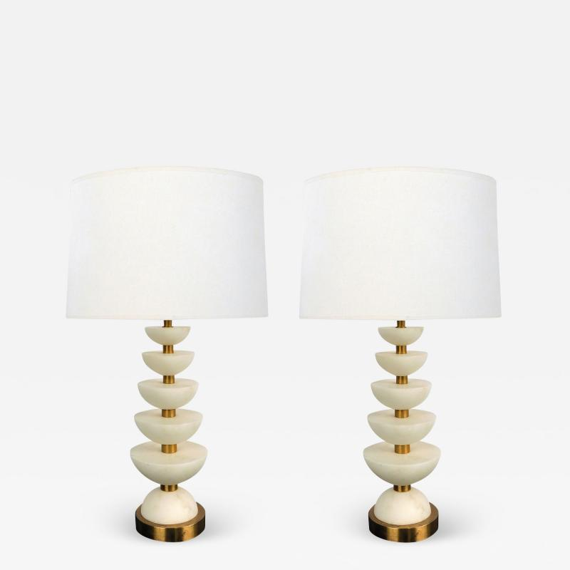 Pair of English brass and alabaster positano lamps by Vaughn London