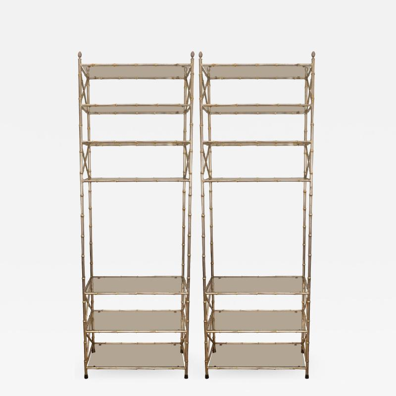 Pair of Faux Bamboo Silvered Etageres