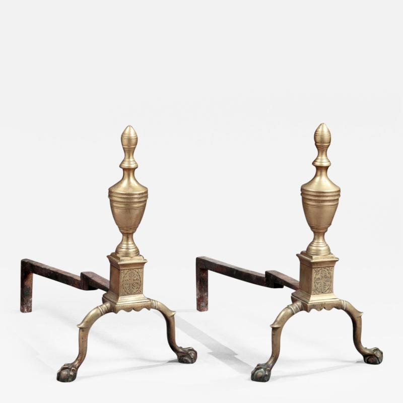 Pair of Federal Engraved Brass Andirons