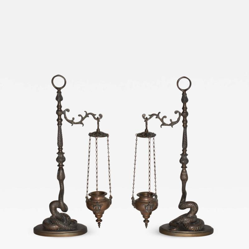 Pair of Figural Bronze Serpent Incense Burners Censers 19th Century Italy