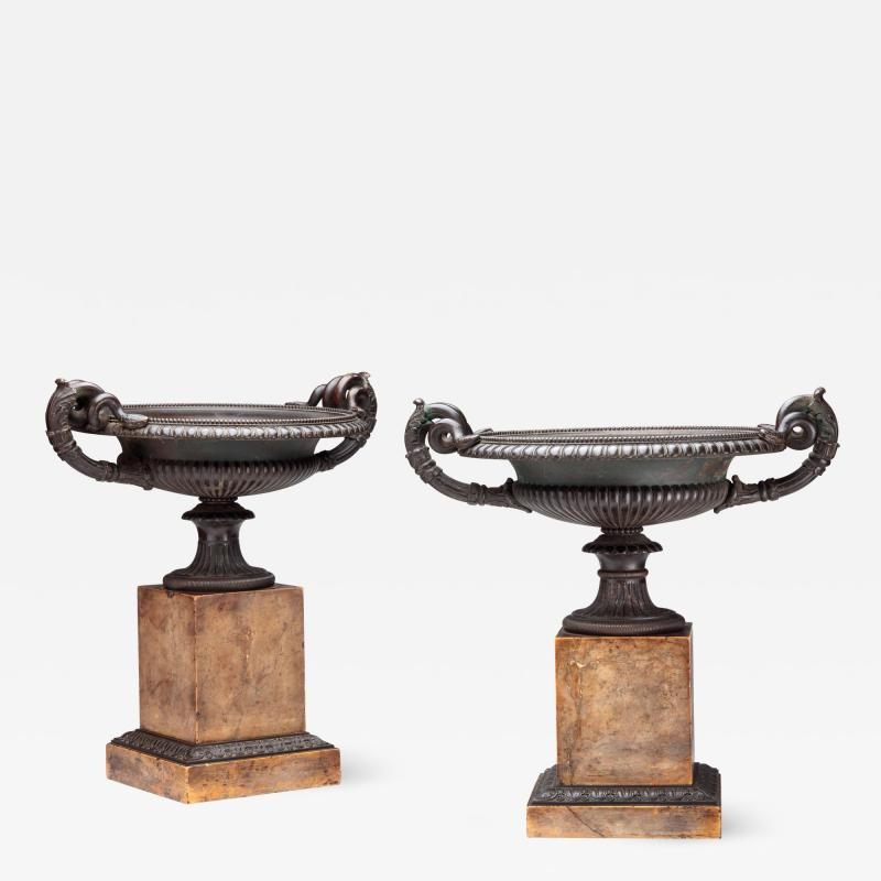 Pair of Fine Bronze Tazza on Sienna Marble Bases