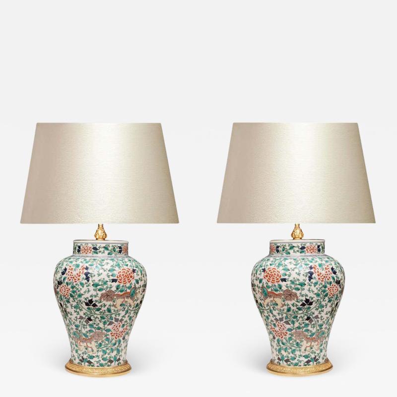 Pair of Fine Painted Famille Verte Porcelain Lamps
