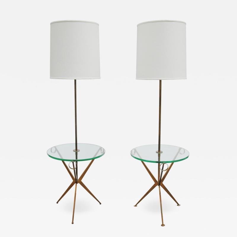 Pair of Floor Lamp Tables Attributed to Paul McCobb