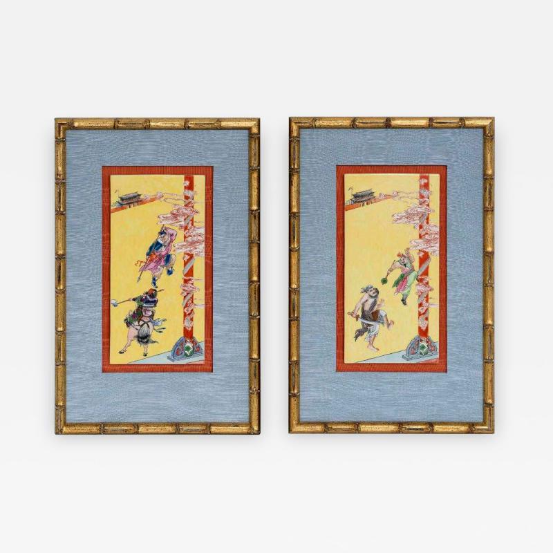 Pair of Framed Famille Jaune Porcelain Plaque Qing Dynasty